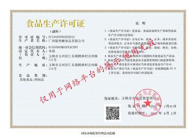 食品生產許可證副本(僅供展示用)